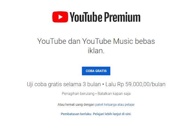 Cara Daftar Youtube Premium Gratis