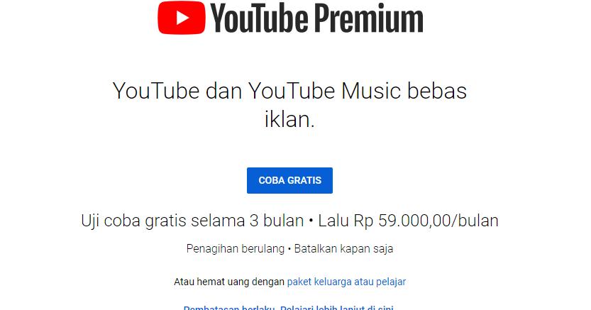 Temukan Cara Coba Youtube Premium Gratis mudah