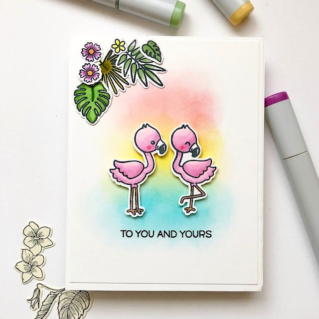 Sunny Studio Stamps: Fabulous Flamingos Customer Card by Olya