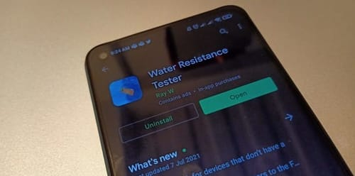 Android app tests the water resistance of mobile phones without drops of water