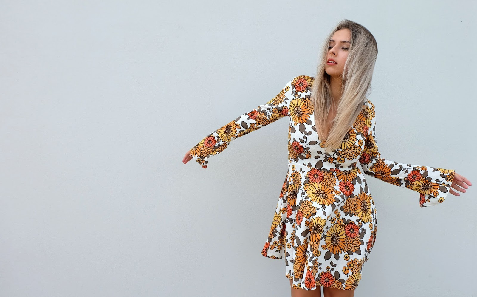 Flared Arms Vintage Dress from Boohoo