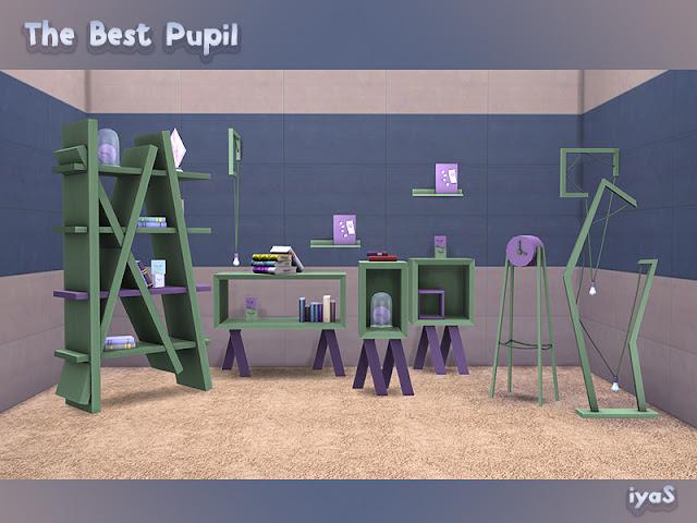 The Best Pupil Лучший ученик для The Sims 4 Простой и оригинальный набор мебели, созданный специально для ваших умных детей. Имеет 10 объектов, каждый объект имеет 4 цветовых вариации. Все хранилища имеют слоты для декора. Также включает в себя функциональную книжную полку. Автор: soloriya