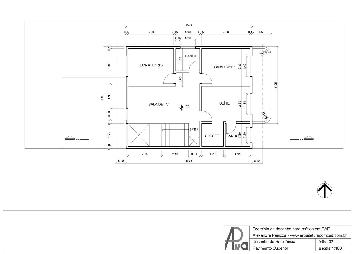 Arquitetura com cad o primeiro desenho for Casa cad