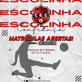 Em Sapé PM continuam abertas as matriculas para a escolinha de futebol do Confiança CEC