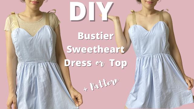 DIY Sweetheart Bustier Dress   Step By Step Tutorial   Men's Shirt Refashion