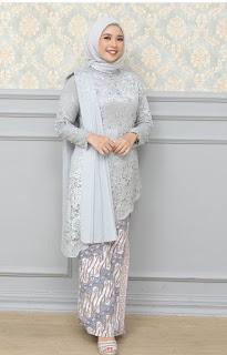 Model kebaya brokat modern hijab warna biru telur asin