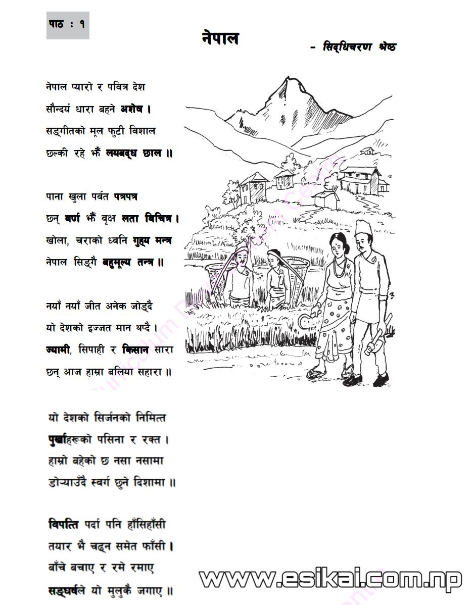 एकाई एक: 'नेपाली' - कक्षा ८ | प्रश्नोत्तर, अभ्यास र व्याकरण