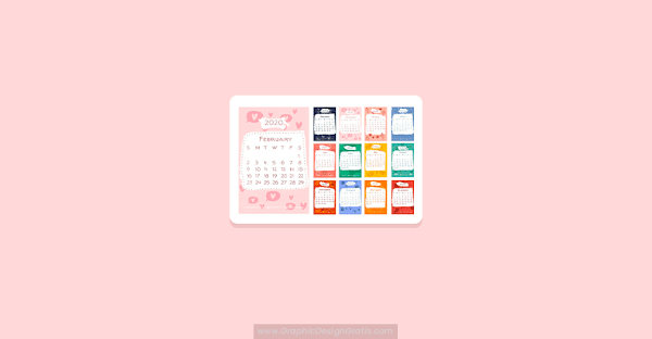 Hermoso calendario 2020 editable con elementos estacionales