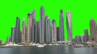 A free video of the Dubai skyline as seen from the marina set against a green screen background.
