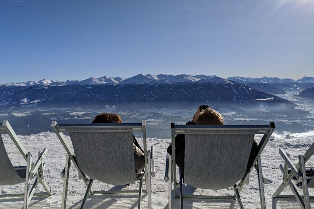 Deck chairs at the top of Nordkette in Innsbruck, Austria