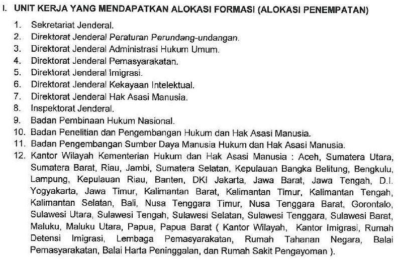 Pengumuman Lengkap CPNS Kementerian Hukum dan HAM, Lulusan SLTA - S1
