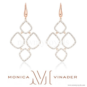 Kate Middleton jeweler Monica Vinader Riva Diamond Cluster Drop Earrings