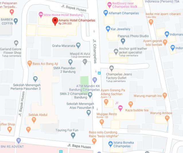 Map Letak Hotel Amaris Cihampelas Bandung