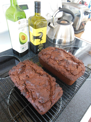 Fruit and Nut Brownie Bread, one for now, one for the freezer.