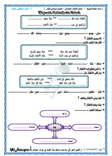 مذكرة لغة عربية الصف الثالث الابتدائي ترم اول 2020