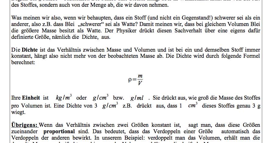 dichte physik klasse 6