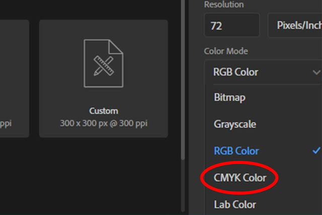 CMYK option in photoshop