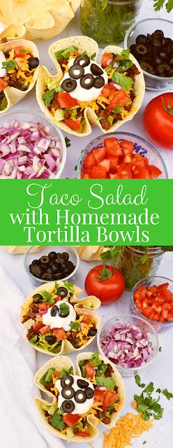 Taco Salad with Homemade Tortilla Bowl