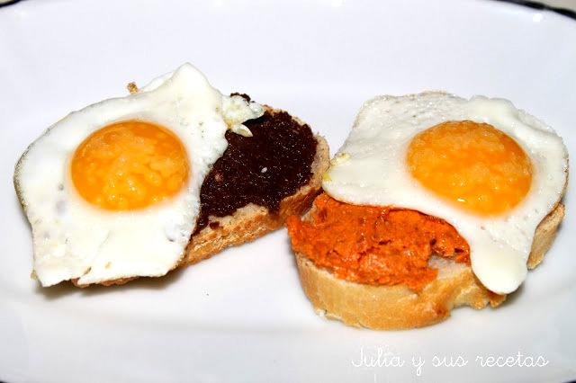 Huevos de codorniz con paté de chorizo o morcilla. Julia y sus recetas