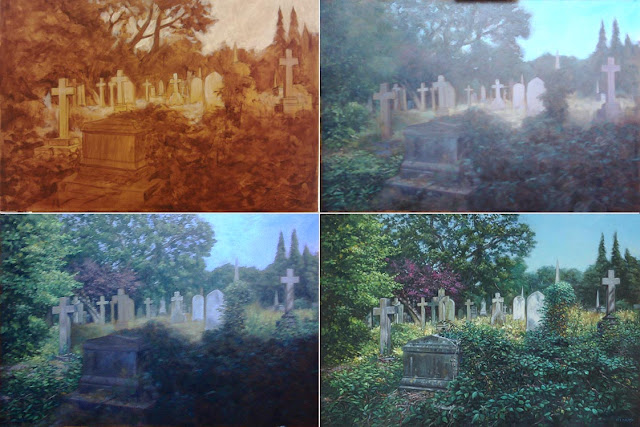 landscape cemetery oil painting M P Davey