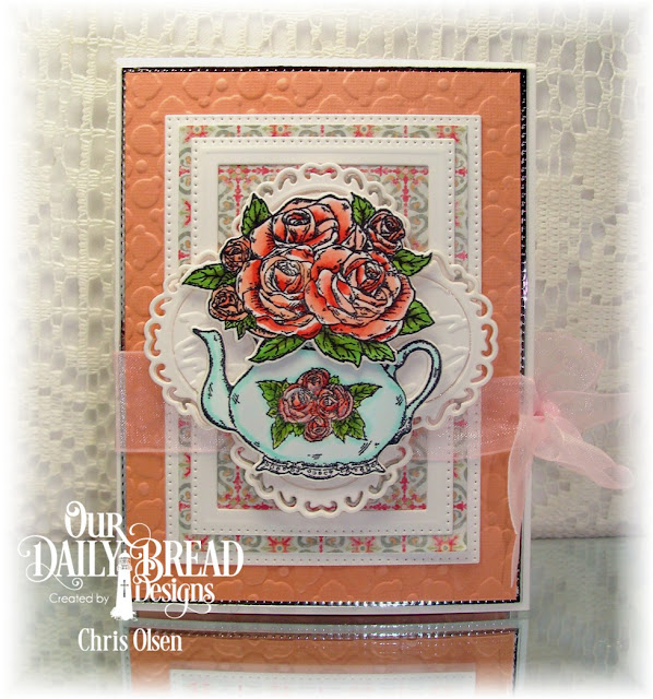 Our Daily Bread Designs, Tea Time, Lavish Layers Dies, Pierced Rectangle dies, Rectangle Dies, Tea pot and Roses die, Majestic Medallion die, Cozy Comfort Collection die,Flourishy Frames die, Pastel Paper Pack, designed by Chris Olsen