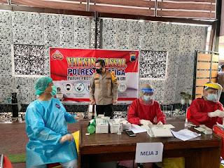 Sambut HUT Bhayangkara Polri KE-75 Polres Salatiga Gelar Vaksinasi Massal