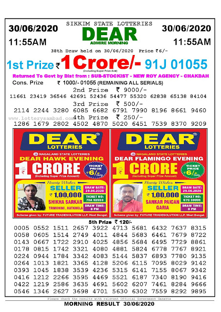 Sikkim State Lotteries 30-06-2020 Lottery Sambad Result 1155 AM