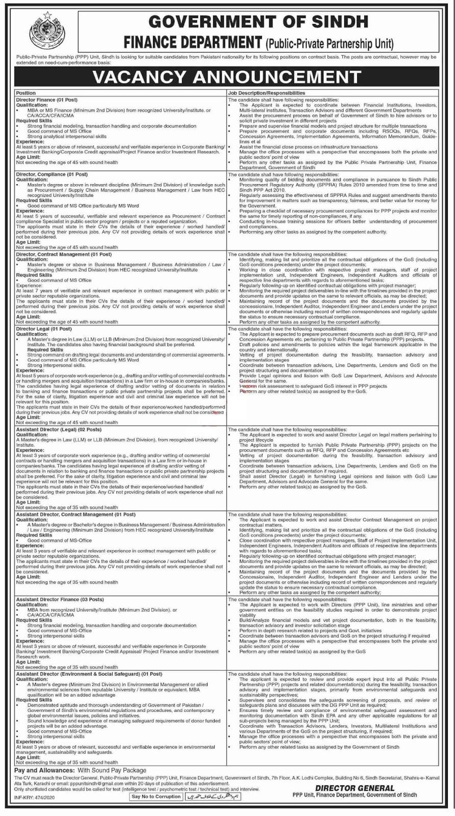 Finance Department Sindh Public Private Partnership PPP Unit Jobs 2020
