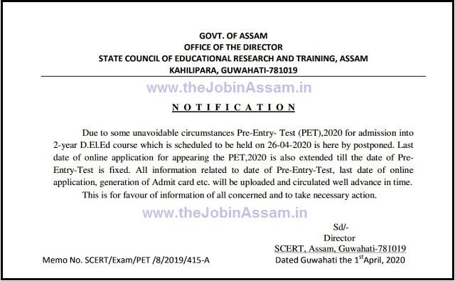 SCERT, Assam D.El.Ed. Admission 2020: Apply Online
