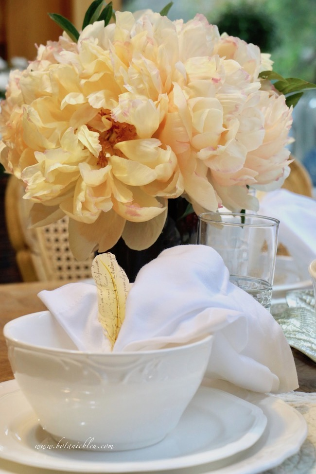 French Country Thanksgiving place setting soup bowl with creamy peonies centerpiece