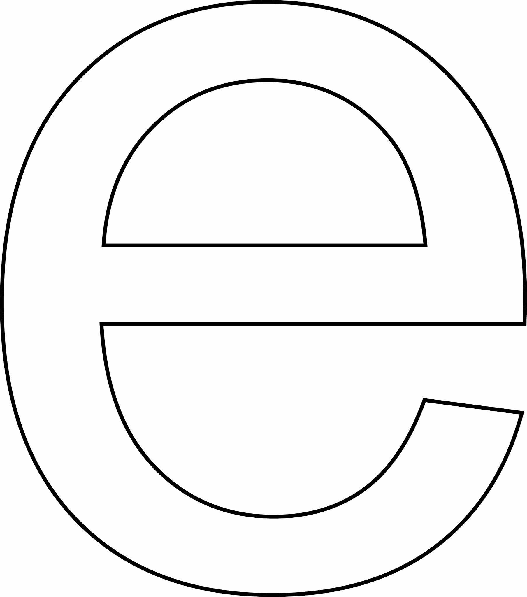 Letra e - minúscula para imprimir