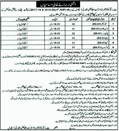 District Education Authority DEA Chakwal Jobs in Pakistan 23/02/2021 Latest