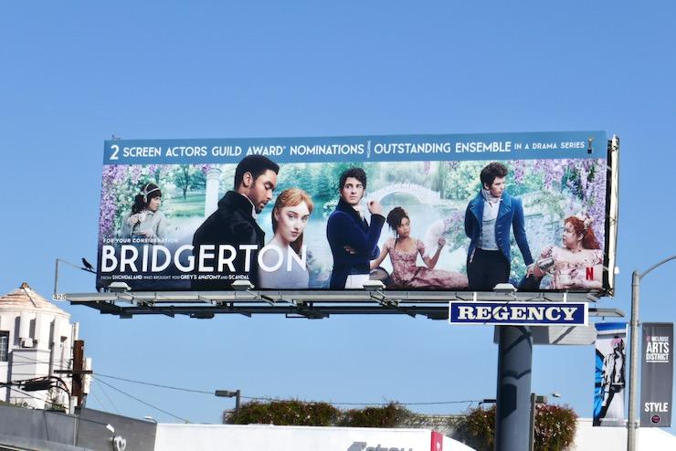 Bridgerton SAG Award nominee billboard