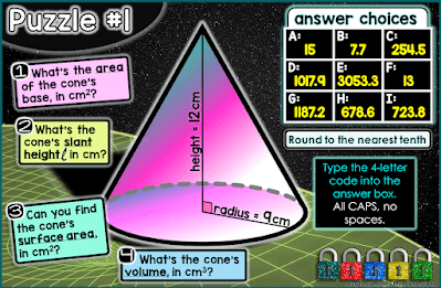 Volume and Surface Area of Cones, Cylinders, Spheres Digital Math Escape Room