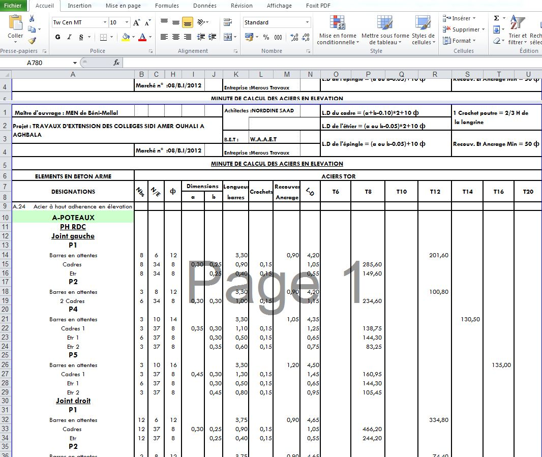 Exemple attachement construction en excel outils livres for Calcul prix construction maison