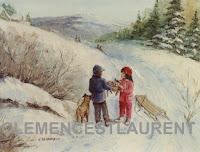Le chat tombé du ciel, tableau par Clémence St-Laurent - garçon avec son chien trouve un chaton dans le fossé enneigé et le donne à sa petite amie