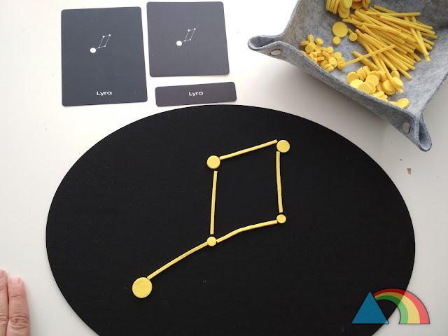 Constelación Lyra construida en tapete de fieltro negro con círculos y palitos de fieltro amarillo, con tarjetas de tres partes de la constelación
