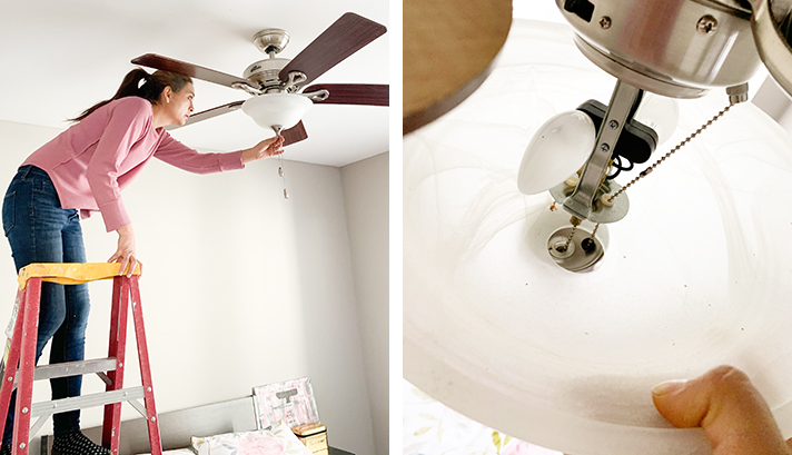 Cristina Garay checking ceiling fan