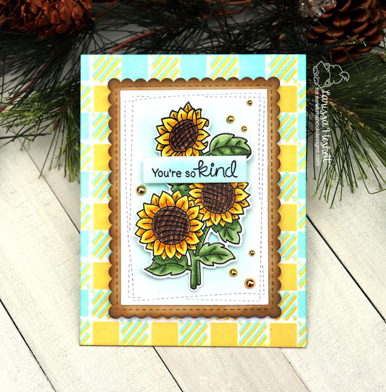 Sunflower Card by Larissa Heskett | Sunflower Days Stamp Set and Gingham Stencil by Newton's Nook Designs #newtonsnook #handmade