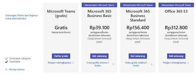 biaya langganan microsoft teams
