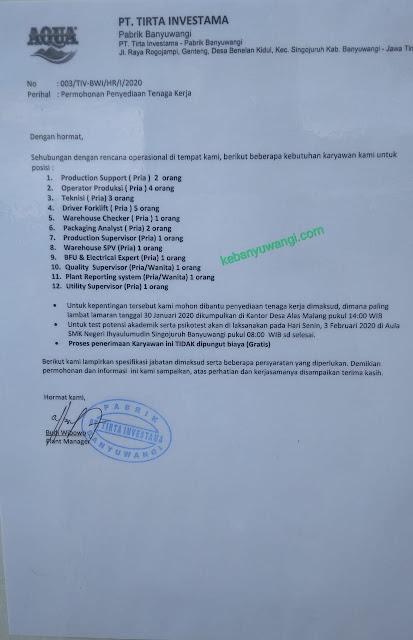 loker aqua banyuwangi, loker tirta investama banyuwangi, loker aqua 2020 banyuwangi