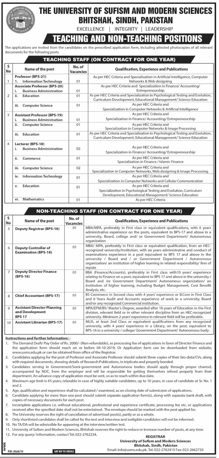 Latest Jobs in University of Sufism & Modern Sciences, Bhitshah Sindh