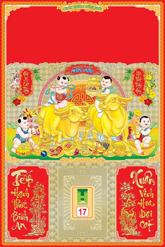 Bìa lịch tết 2021 mẫu trâu vàng