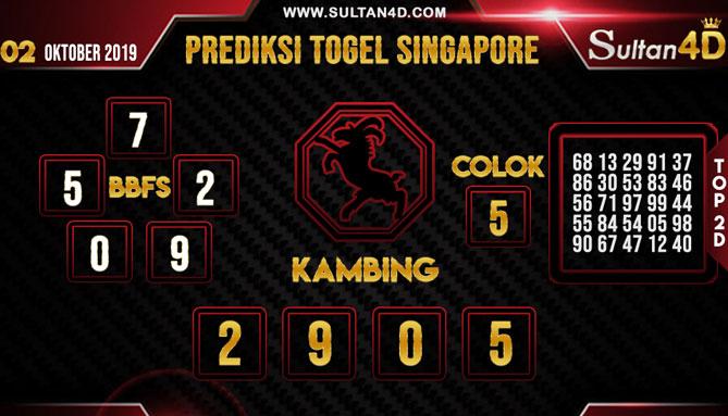 PREDIKSI TOGEL SINGAPORE SULTAN4D 02 OKTOBER 2019