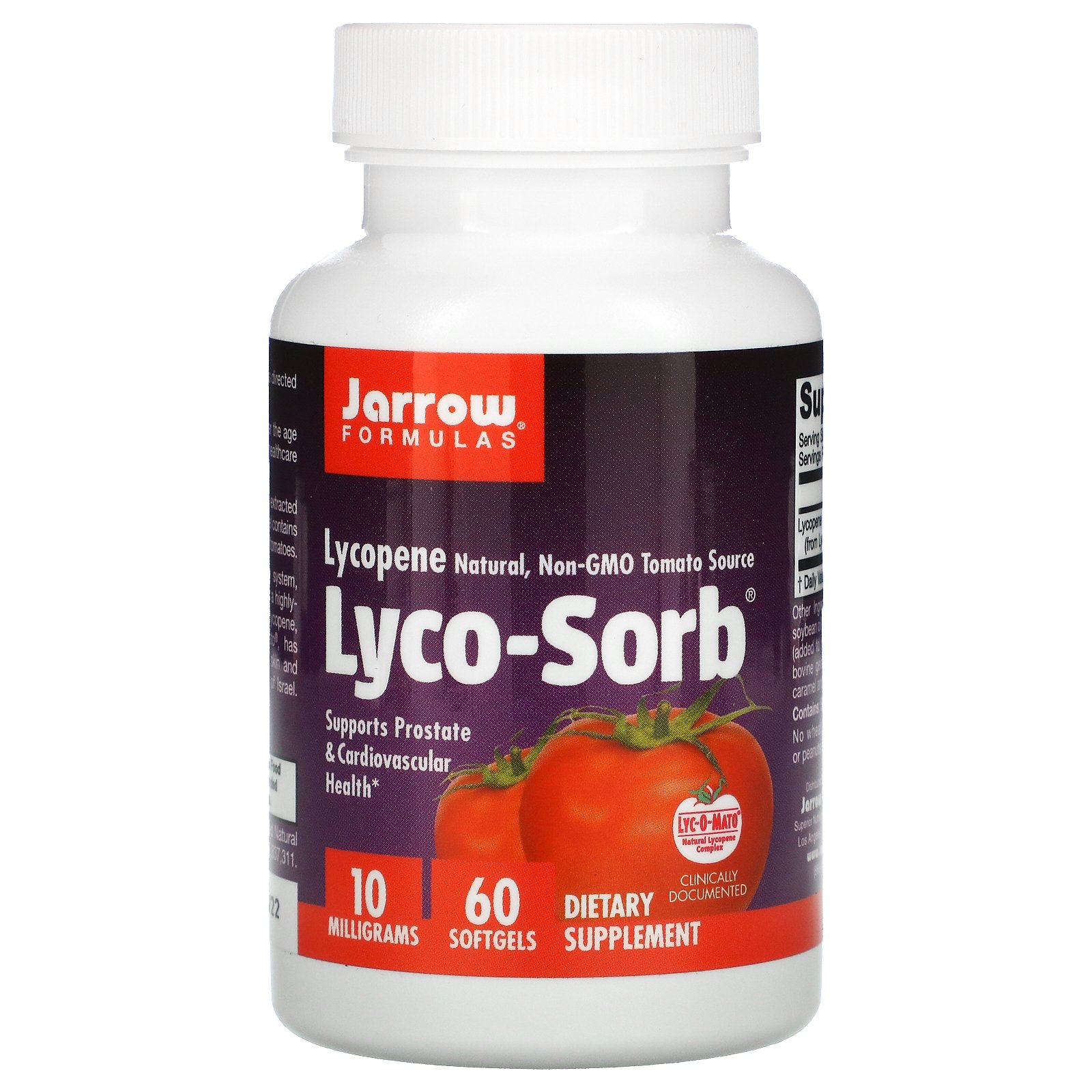 Jarrow Formulas, Lyco-Sorb, ликопин, 10 мг, 60 капсул
