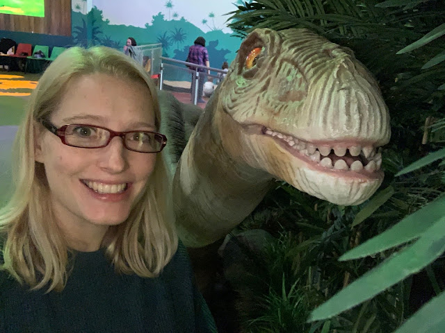 Me and a dinosaur having a selfie