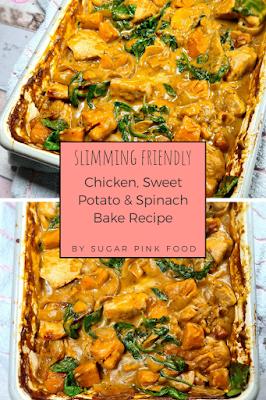 Chicken sweet potato spinach bake