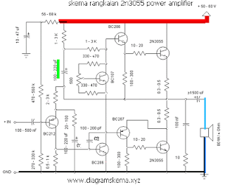 skema Rangkaian Amplifier 60 Watt 2N3055