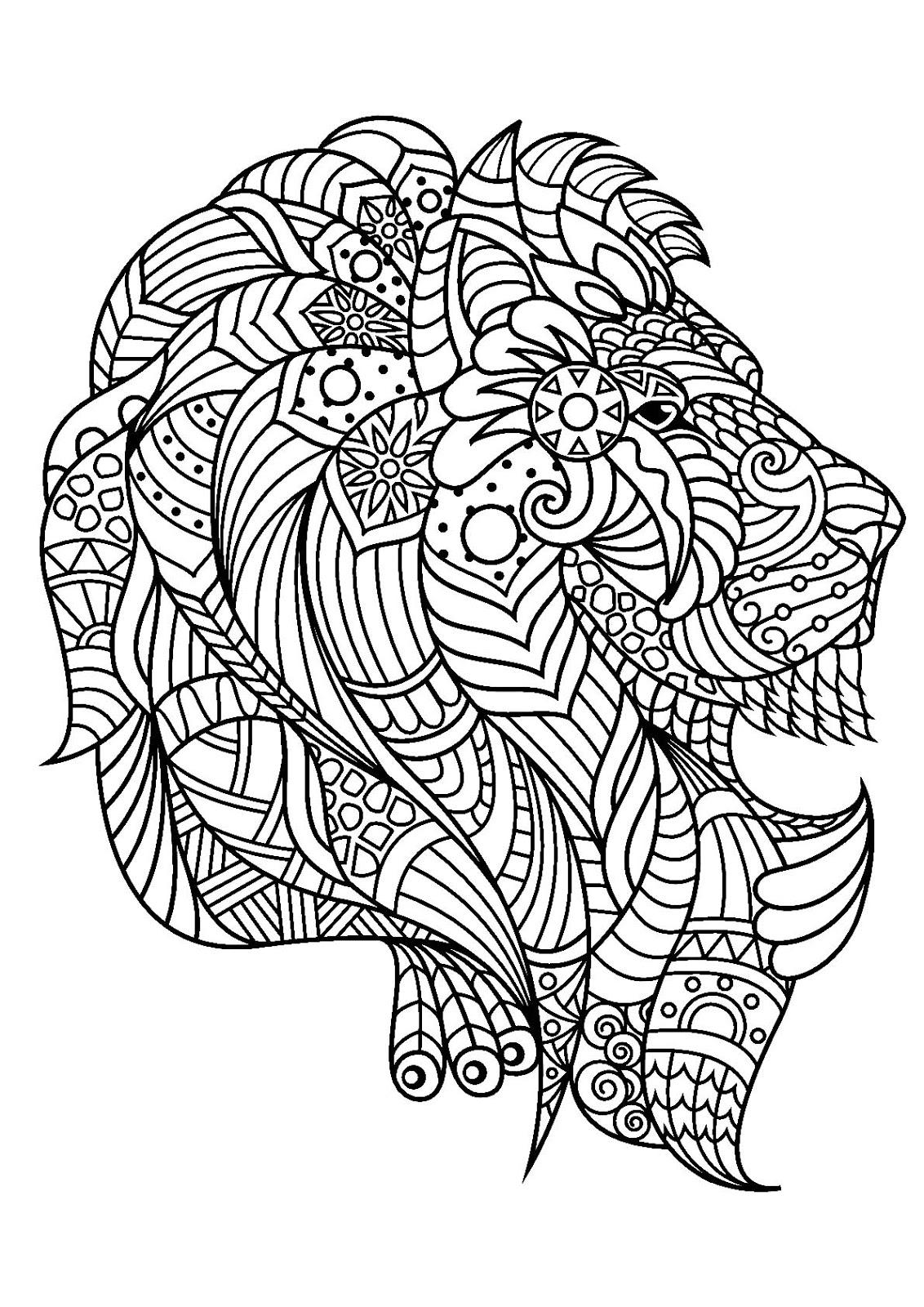 Tranh tô màu con sư tử trang trí họa tiết