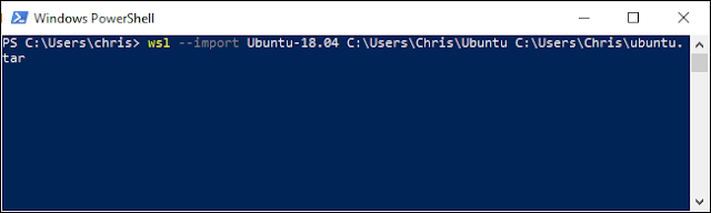 استيراد ملف Linux TAR في PowerShell